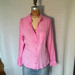 Hot pink silky button down blouse